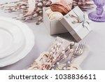 easter table setting. white... | Shutterstock . vector #1038836611