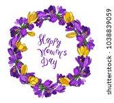 crocus crown  happy women s day ... | Shutterstock .eps vector #1038839059