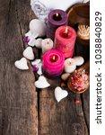 spa massage setting  lavender... | Shutterstock . vector #1038840829