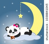 the sweet panda is sleeping on... | Shutterstock . vector #1038841045