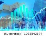 businessman on digital stock... | Shutterstock . vector #1038842974