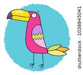 lovely pink toucan bird. funny... | Shutterstock .eps vector #1038845041