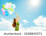 woman flying on balloons  ... | Shutterstock . vector #1038845371