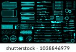 HUD Virtual Futuristic Elements Set Vector. Green Object Abstract Graphic For User Interface Control Panel Game Apps Illustration. | Shutterstock vector #1038846979