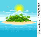illustration of tropical island ... | Shutterstock .eps vector #1038852007