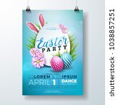 Stock vector vector easter party flyer illustration with painted eggs rabbit ears and typography elements on 1038857251