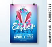vector easter party flyer... | Shutterstock .eps vector #1038857311