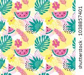 bright vector pattern with palm ... | Shutterstock .eps vector #1038857401