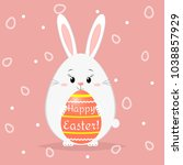 a cute easter bunny stands and... | Shutterstock . vector #1038857929