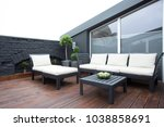 white garden furniture on the... | Shutterstock . vector #1038858691