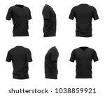 men's black v neck t shirt with ... | Shutterstock . vector #1038859921