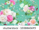 beautiful seamless spring... | Shutterstock .eps vector #1038860695