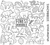 Stock vector forest and mountain animals traditional doodle icons sketch hand made design vector 1038862441