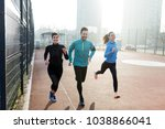 friends fitness training... | Shutterstock . vector #1038866041