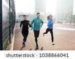 friends fitness training... | Shutterstock . vector #1038866041
