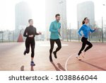 friends fitness training... | Shutterstock . vector #1038866044