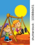 boy and girl on the swing | Shutterstock . vector #103886651
