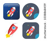 spacecraft icon   vector rocket ... | Shutterstock .eps vector #1038868459