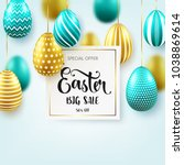 easter golden  green egg with... | Shutterstock .eps vector #1038869614