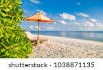 empty chairs under sun... | Shutterstock . vector #1038871135