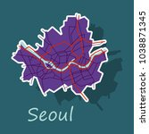 sticker map of seoul with... | Shutterstock .eps vector #1038871345