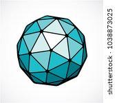 3d vector digital spherical... | Shutterstock .eps vector #1038873025