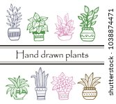 set of different hand drawn... | Shutterstock .eps vector #1038874471