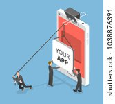 your app flat isometric vector...   Shutterstock .eps vector #1038876391