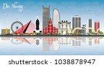 da nang vietnam city skyline... | Shutterstock .eps vector #1038878947