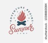 summer camp hand written... | Shutterstock . vector #1038883084
