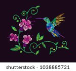 embroidery. hummingbirds and...   Shutterstock .eps vector #1038885721