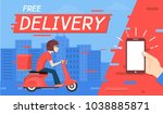 delivery man ride motorcycle... | Shutterstock .eps vector #1038885871