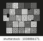geometric maze alphabet.... | Shutterstock .eps vector #1038886171
