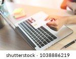 business girl shopping online...   Shutterstock . vector #1038886219