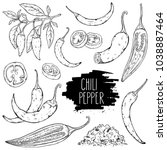 hand drawn hot chili pepper set.... | Shutterstock .eps vector #1038887464