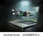 caucassian soccer player in...   Shutterstock . vector #1038889411