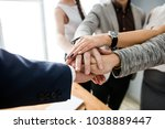 corporate business team hold... | Shutterstock . vector #1038889447
