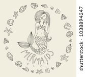 mermaid vector hand drawn... | Shutterstock .eps vector #1038894247