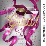 grad party invitation  card... | Shutterstock .eps vector #1038897085
