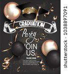 graduation party invitation... | Shutterstock .eps vector #1038897091