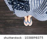 blue shoes isolated on wood... | Shutterstock . vector #1038898375
