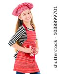 little girl in red chef uniform ... | Shutterstock . vector #1038899701