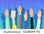 concept of election. hands... | Shutterstock .eps vector #1038899791