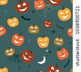 halloween pattern pumpkins and... | Shutterstock .eps vector #1038900721