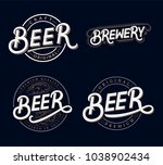 set of beer and brewery hand... | Shutterstock . vector #1038902434