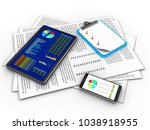 3d illustration of papers and... | Shutterstock . vector #1038918955