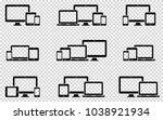responsive web design icons in... | Shutterstock .eps vector #1038921934