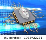 3d illustration of microchip... | Shutterstock . vector #1038922231