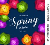 spring banner with paper... | Shutterstock .eps vector #1038922939