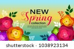 spring banner with paper... | Shutterstock .eps vector #1038923134
